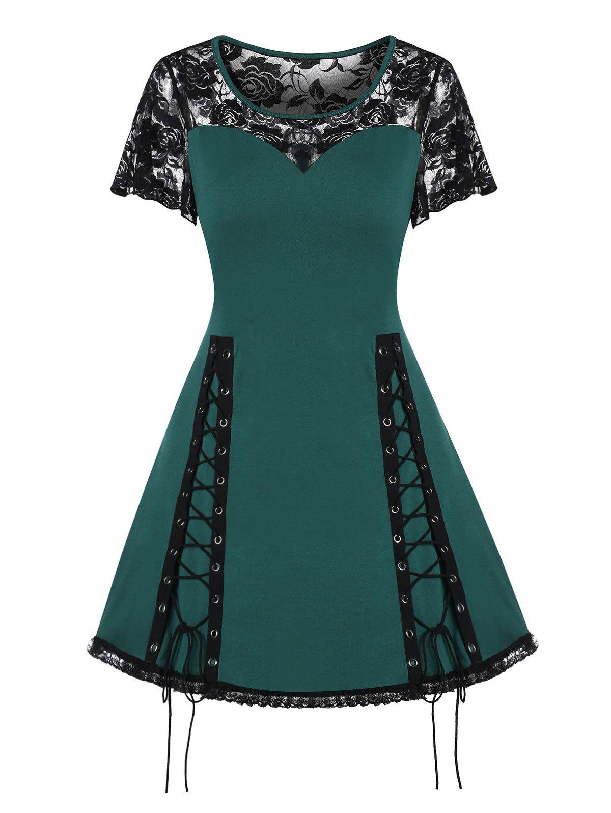 Online Lace Up Fit And Flare Sheer Dress
