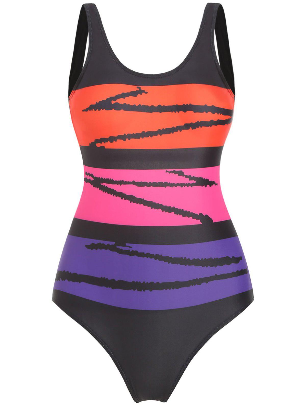 Color Block Open Back Padded Swimsuit