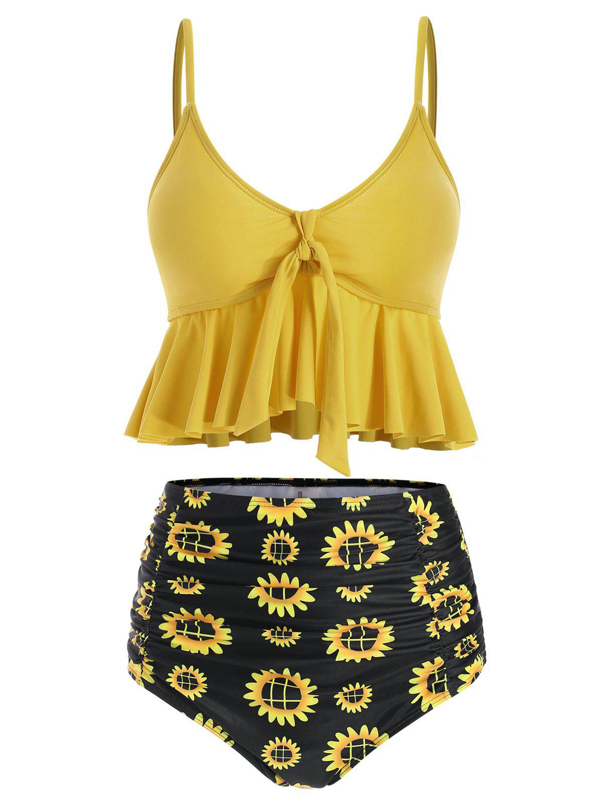 Outfit Floral Print Ruched Ruffles Tankini Set