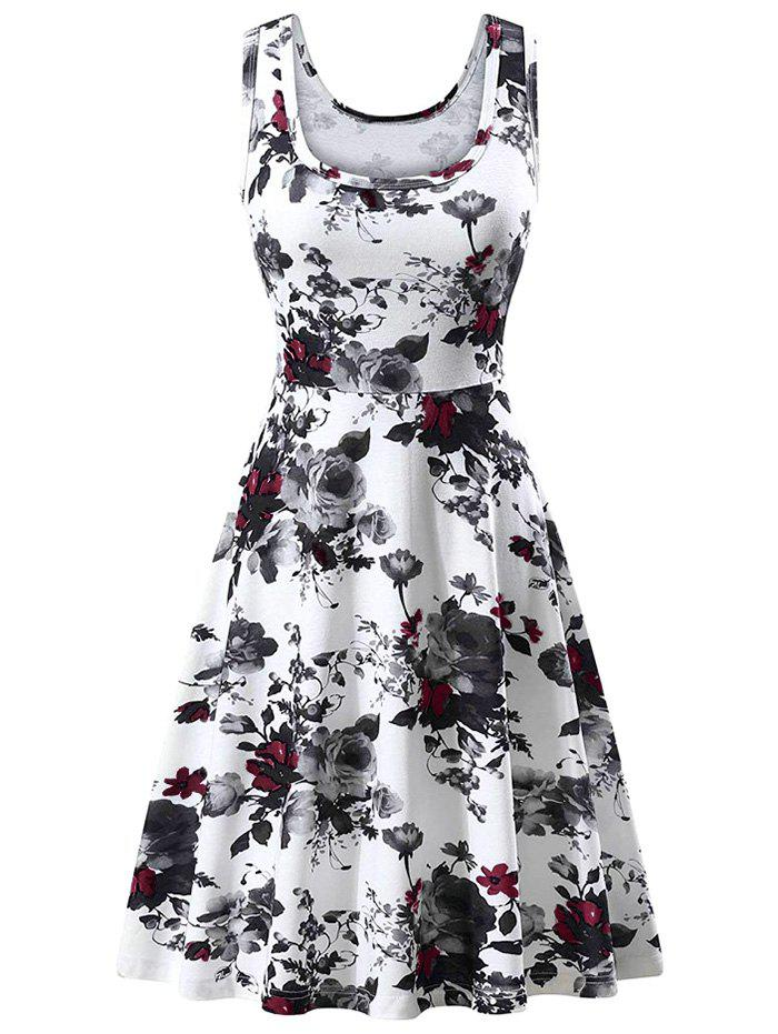 Latest Flower U Neck Casual Dress