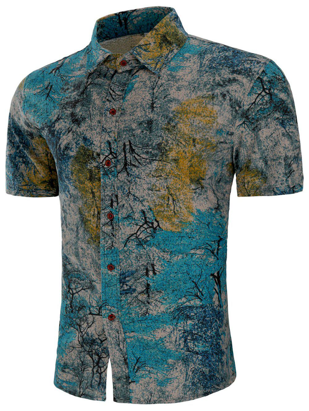 Buy Short Sleeves Plant Painting Print Button Shirt