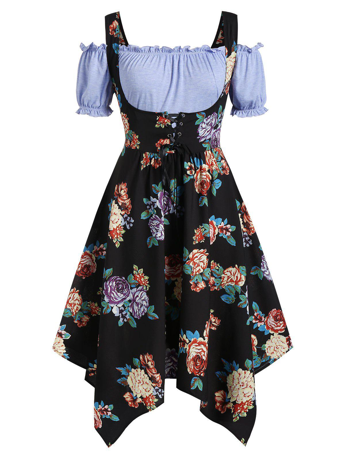 Fancy Plus Size Handkerchief Floral Dress With Off Shoulder Blouse Twinset