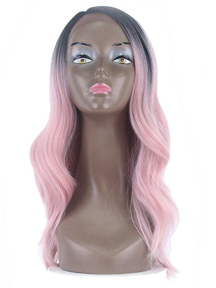 Unique Center Part Wavy Long Synthetic Wig with Lace Front
