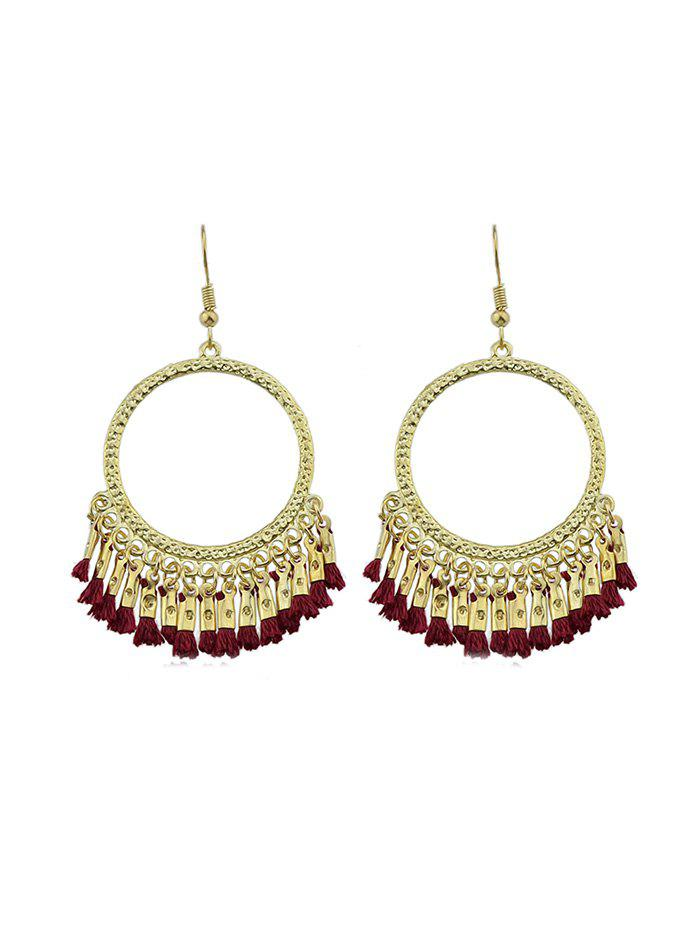Latest Ethnic Circle Fringe Hook Earrings