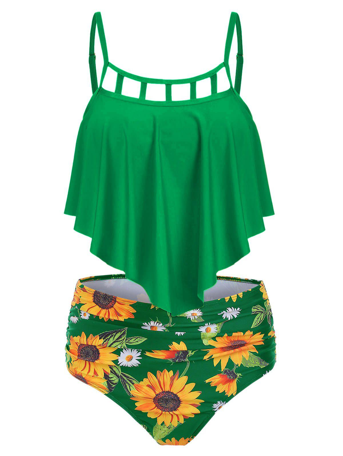 Best Ruched Sunflower Overlay Tankini Set
