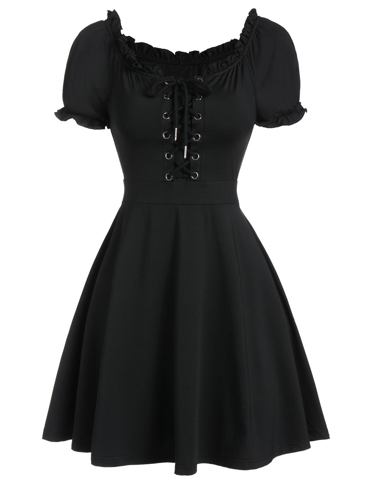 Cheap Lace Up Front Ruffle Skater Dress