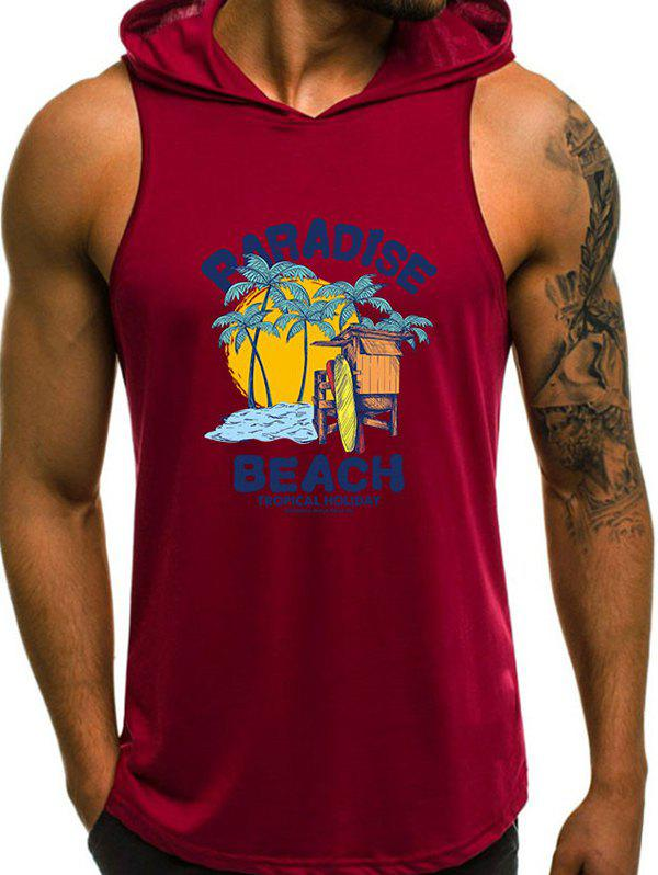Online Tropical Beach Holiday Print Hooded Tank Top