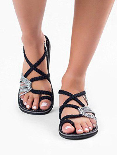 Discount Toe Loop Braided Strap Flat Sandals