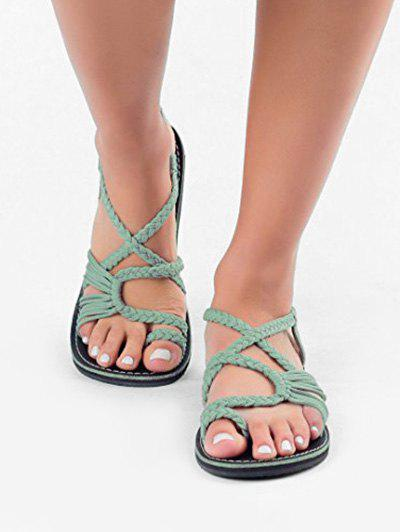 Hot Toe Loop Braided Strap Flat Sandals
