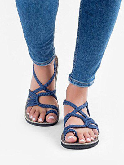 Fancy Toe Loop Braided Strap Flat Sandals