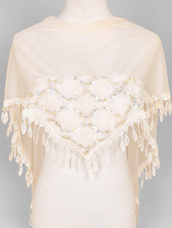 Cheap Flower Lace Fringe Sequin Triangle Scarf