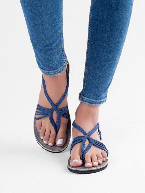 Discount Braided Strap Thong Flat Sandals