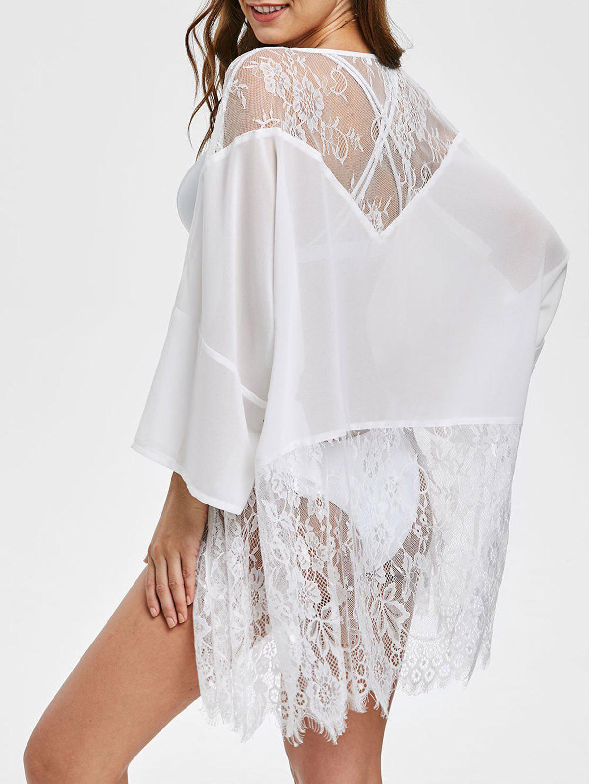 Online Lace Panel Open Front  Cover Up