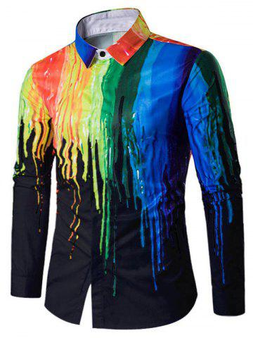 Paint Splatter Long Sleeve Casual Shirt