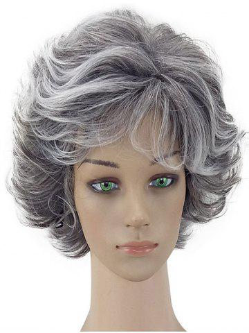 Short Curly Fluffy Natural Side Bang Synthetic Wig