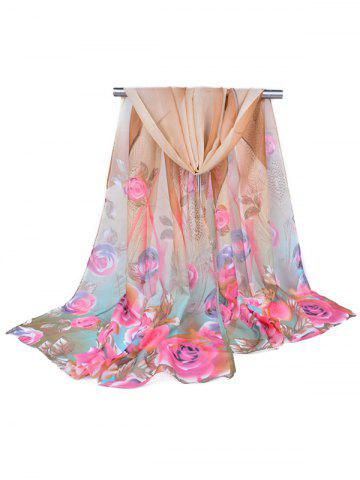 Flower Printed Chiffon Long Scarf