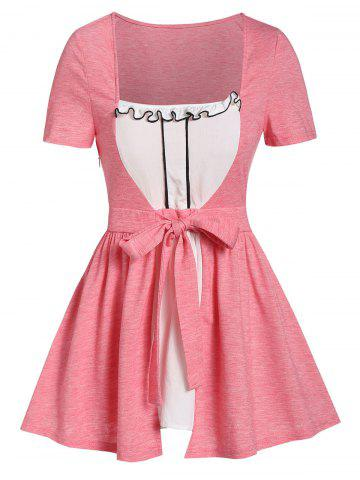 Square Collar Frilled Knotted Tunic Tee