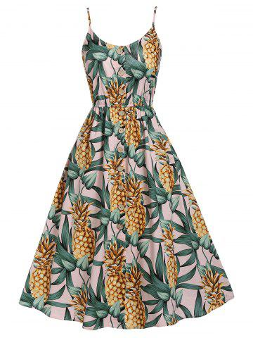 Pineapple Print High Waist Cami Dress