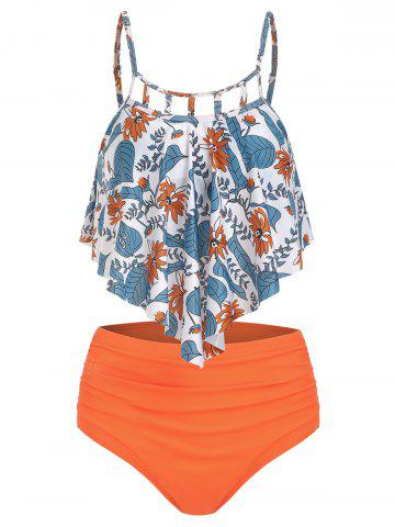 53271d25f Floral Print Cut Out Overlay Tankini Set