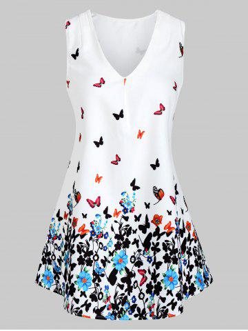 Butterfly Floral V Neck Tunic Tank Top