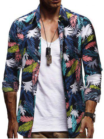Allover Plant Leaf Print Casual Shirt