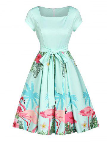 Fit And Flare Flamingo Print Zippered Dress