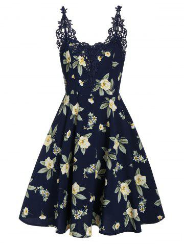Floral Print Lace Panel Fit And Flare Dress
