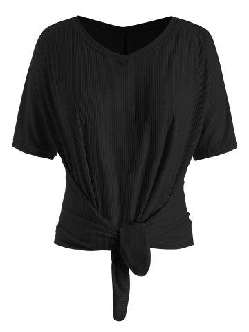 Plus Size Batwing Sleeve Front Tie T-shirt