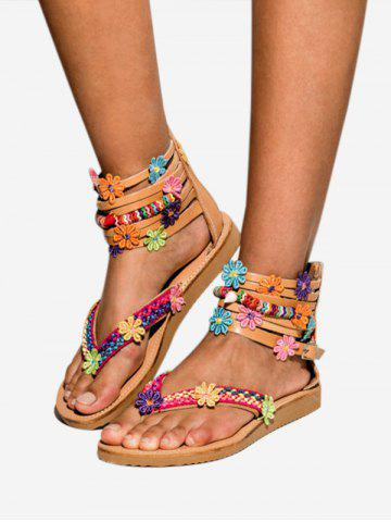 Flower Decor Gladiator Thong Sandals