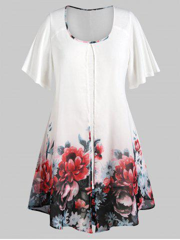Plus Size Floral Overlay Layered Blouse - WHITE - L