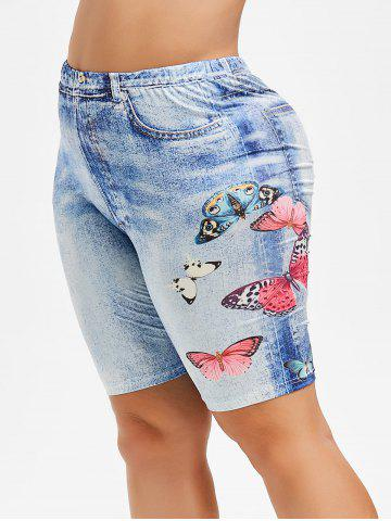 Plus Size Butterfly Jean 3D Print Shorts