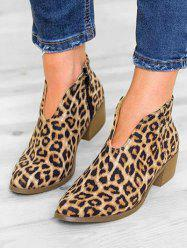 Leopard Print V Cut Ankle Boots -