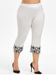 Lace Applique Plus Size Capri Leggings -
