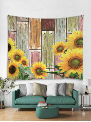 Sunflower Wood Grain 3D Print Wall Tapestry -