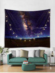 Milky Way Print Tapestry Wall Hanging with LED String Lights -