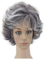 Short Curly Fluffy Natural Side Bang Synthetic Wig -