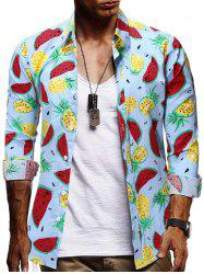 Watermelon and Pineapple Print Button Shirt -