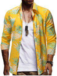 Button Up Leaf Print Casual Shirt -