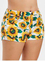 Plus Size High Waist Sunflower Print Shorts -