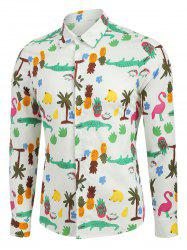 Cartoon Tropical Print Long Sleeve Button Up Shirt -