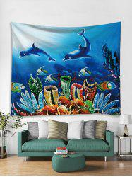 Underwater Dolphin Print Tapestry Wall Hanging -