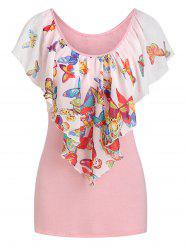 Capelet Overlay Butterfly Print T-shirt -