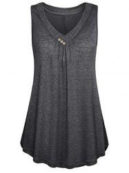 Button Embellished Longline Tank Top -