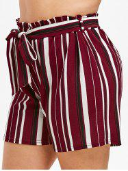 Plus Size Striped Paperbag Shorts -