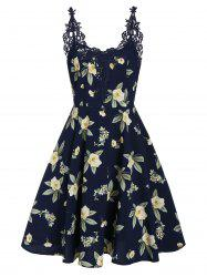 Floral Print Lace Panel Fit And Flare Dress -