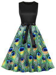Peacock Feather A Line Belted Dress -
