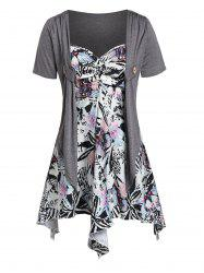 Plus Size Asymmetrical Shawl Top With Floral Cami Top -