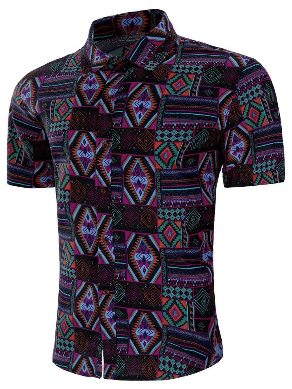 Trendy Short Sleeves Tribal Geometric Print Shirt