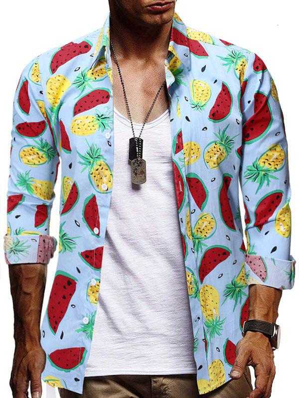 Outfits Watermelon and Pineapple Print Button Shirt
