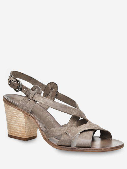 Fashion Stacked Heel Cross Strap Sandals